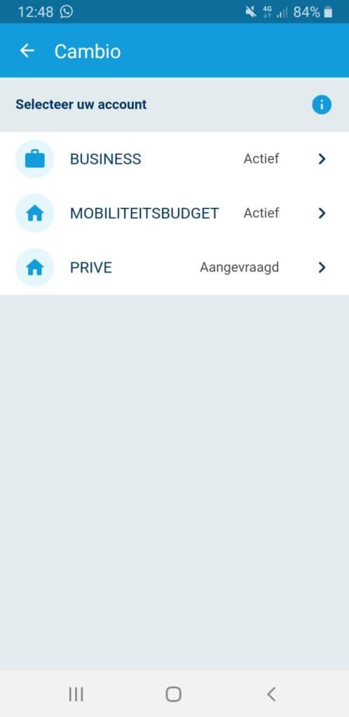 Cambio in de Olympus-app
