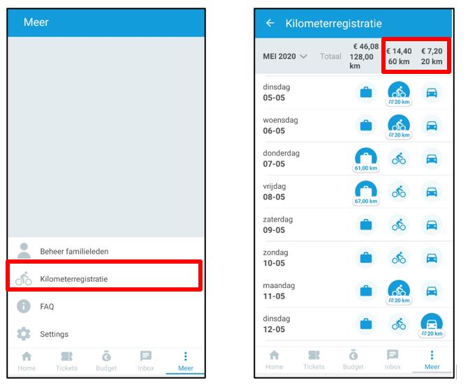 Eenvoudige kilometerregistratie in de Olympus-app.